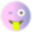 Gesicht mit der Zunge zwinkern