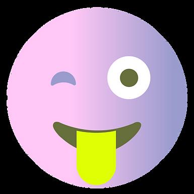 Knipogend gezicht met tong