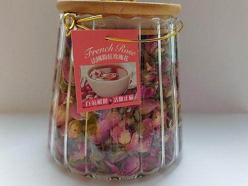 FAW030 SPA花瓣/花茶禮品裝 - 法國粉紅玫瑰花110G (樽)