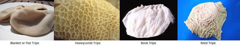 Figure 2. Different types of tripe available.