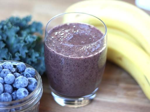 Recipe:  Blueberry-Banana-Almond-Kale Smoothie