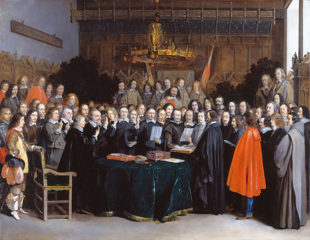 Swearing of the Peace of Münster by Gerard ter Borch in Eighty years' war.