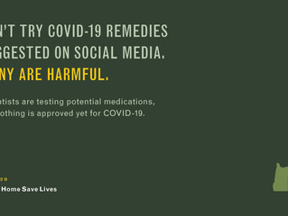 Don't Try COVID-19 Remedies Suggested on Social Media.