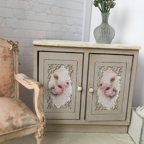 Cabinet with rose graphics