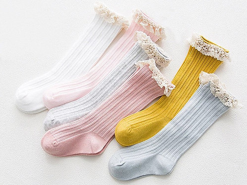 Knee High Socks with Lace Trim