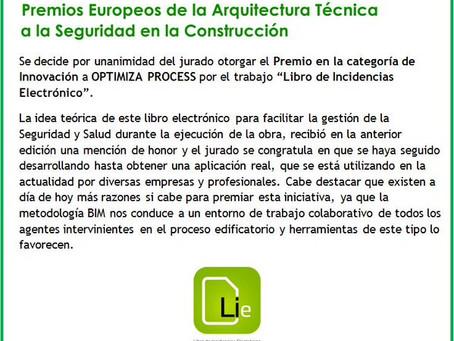 Premio de Innovación en los XVII Premios Europeos de la Arquitectura Técnica a la Seguridad