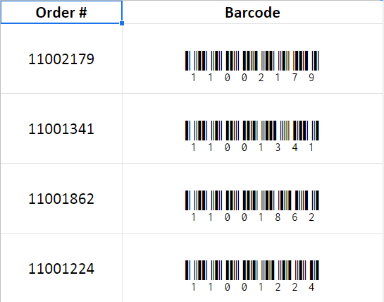 Creating Barcodes using fonts in Google Sheets