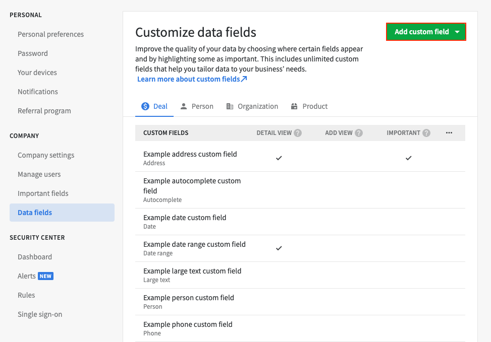 Data Fields in Pipedrive