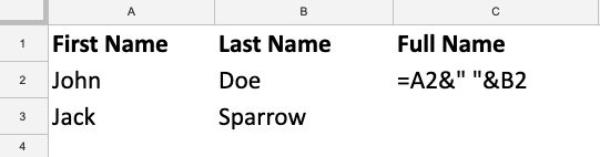 Spreadsheet with First Name and Last Name, and a formula that combines these fields to create Full Name