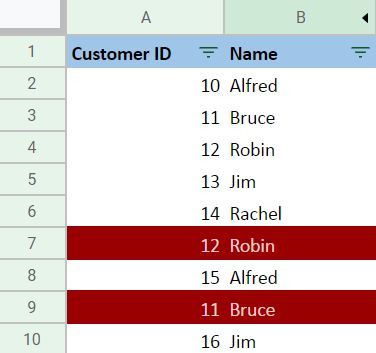 Highlighting Subsequent Duplicate Rows Output