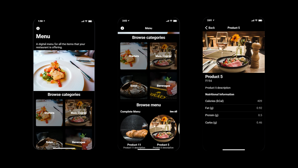 Demo of a digital menu mobile application for restaurants