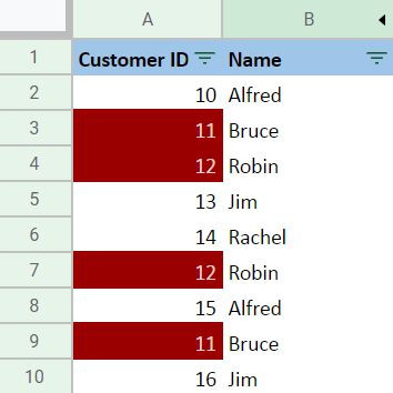 Highlighting Cell in a Column Output