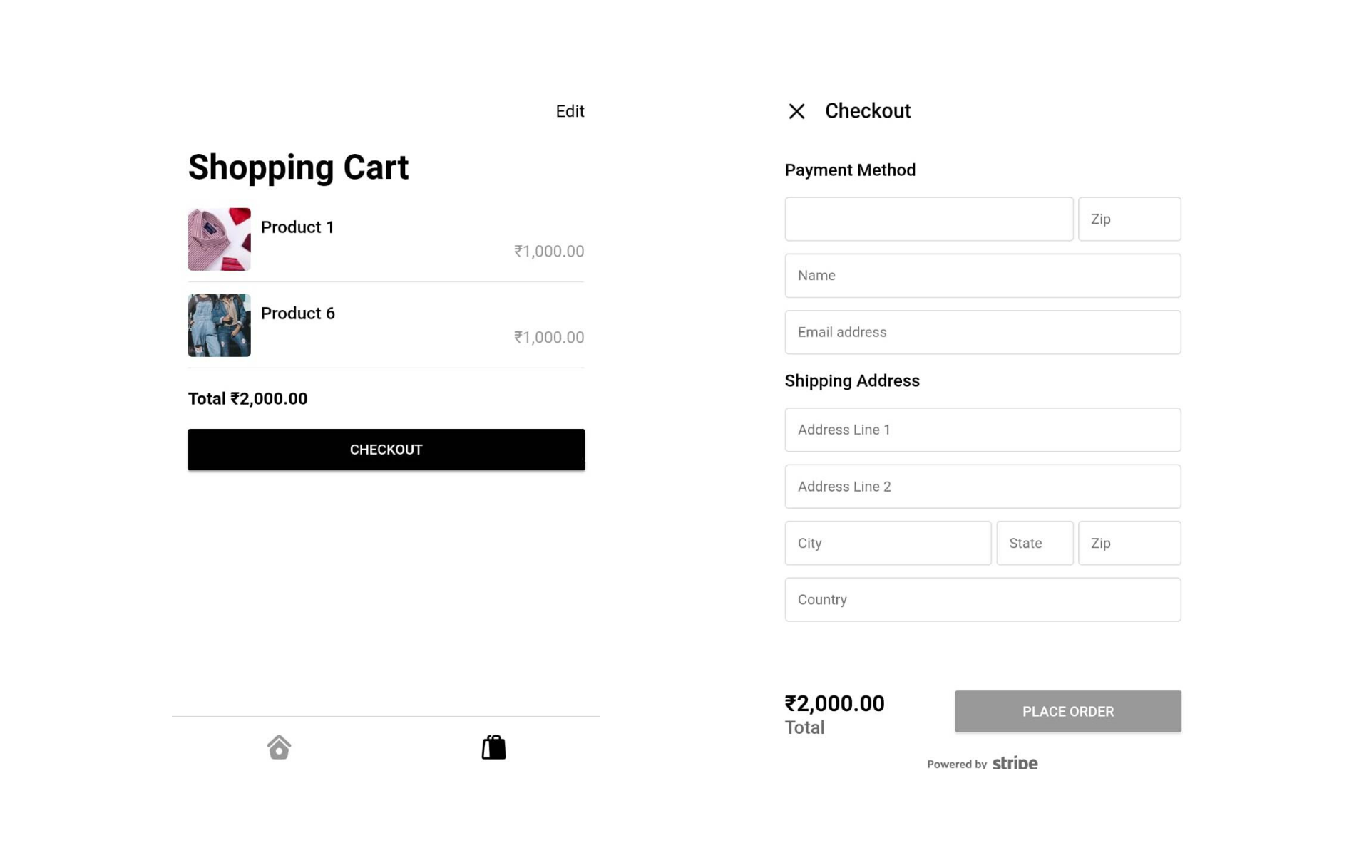 eCommerce Store: Checkout flow and pages