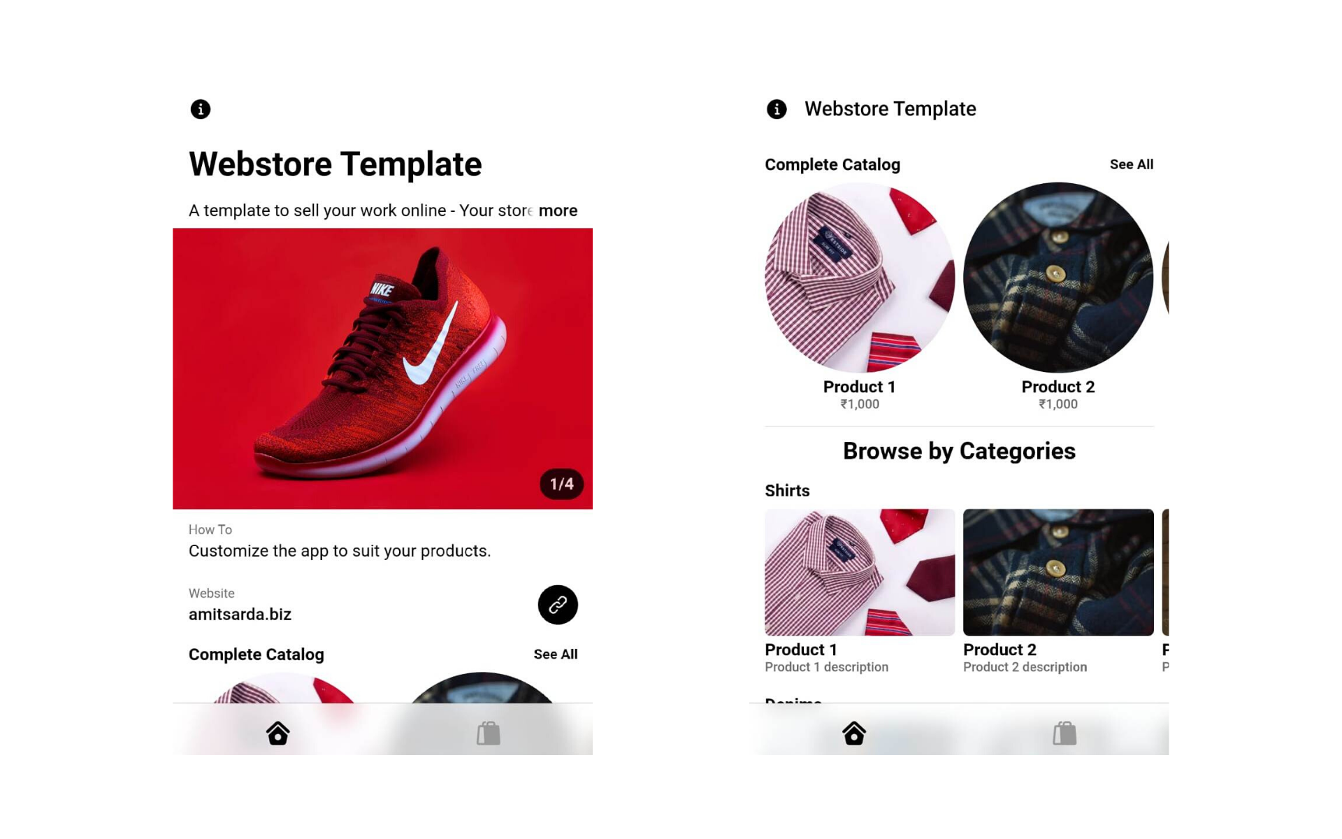 eCommerce Store Homepage using Glide Apps