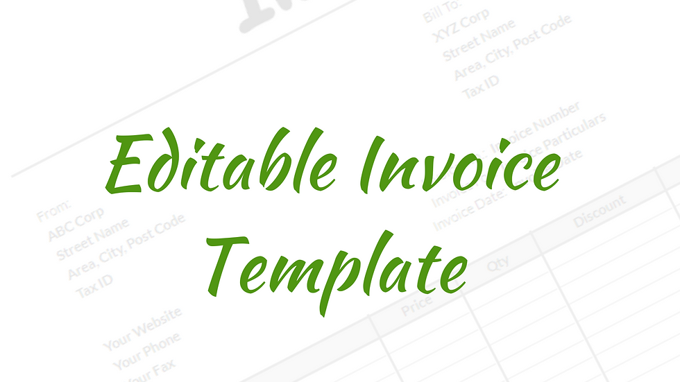 Editable Invoice Template in Google Sheets