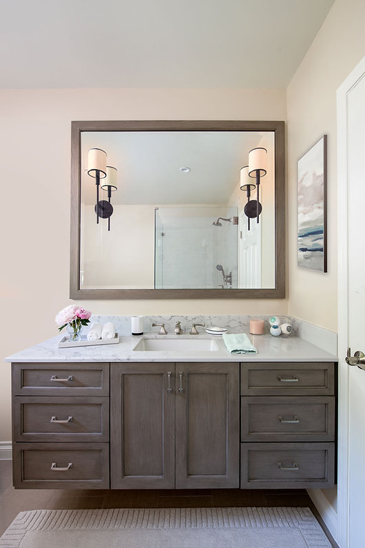 Spanish colonial guest bathroom with double vanity designed by Pasadena's Soul Interiors Design