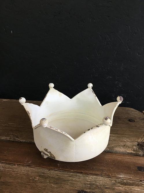 Teelicht Krone weiss