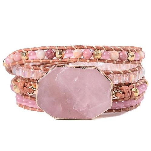 Rose quarts wrap bracelet