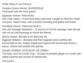 Bruno's of Brooklyn Wins Taste of Lee Award!