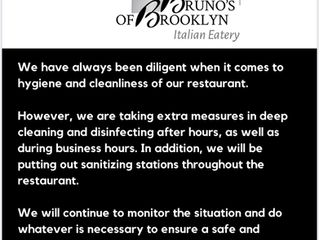 UPDATE FROM OUR BRUNO'S OF BROOKLYN FAMILY TO YOURS Effective Monday May 4, 2020.