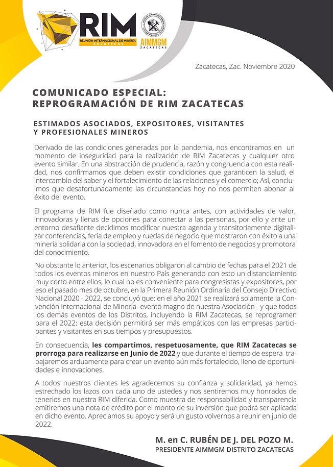 RIM ZACATECAS COMUNICADO ESPECIAL NUEVAS