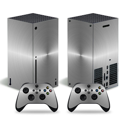 Metallic Grey Sticker Decal Cover for Xbox Series X Console+ 2 Controllers