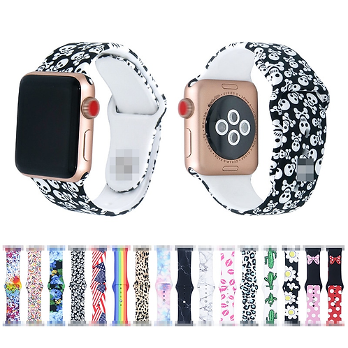 Apple Sport Loop Printed Silicone Strap for Apple Watch 44mm 40mm 38mm 42mm