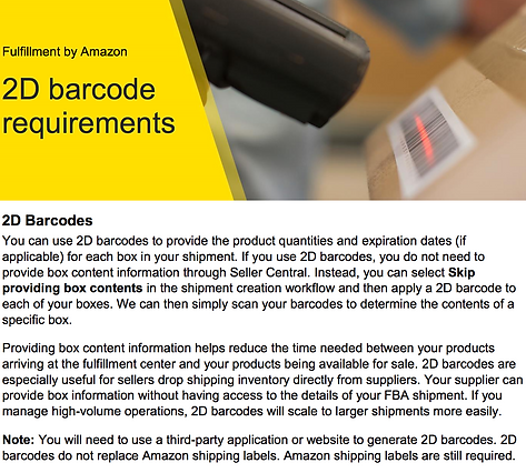amazon FBA 2D barcodes now made with mobile APP