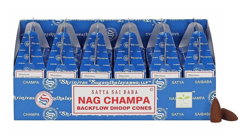 6 Boxes x Nag Champa (24pcs) - Satya Backflow Dhoop Cones