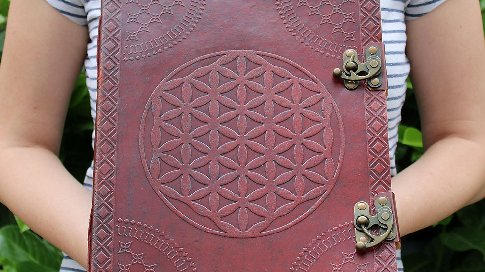 Huge Flower of Life Leather Book - 10in x 13in  (200 pages)