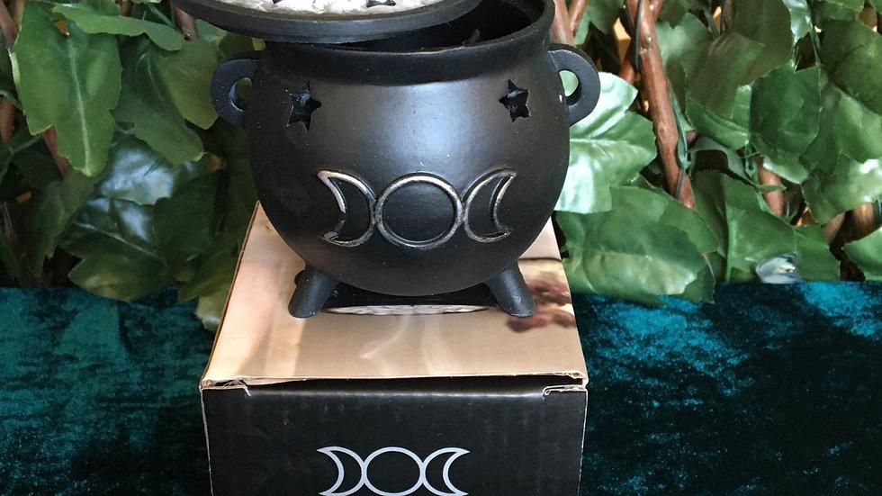 Triple Moon Cauldron Cone Incense Burner