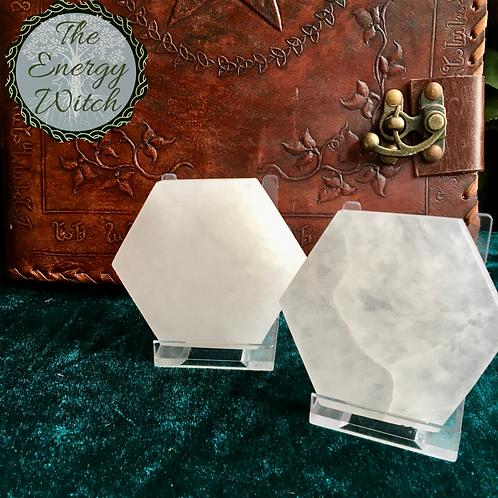 Hexagonal Charging Plate - Selenite
