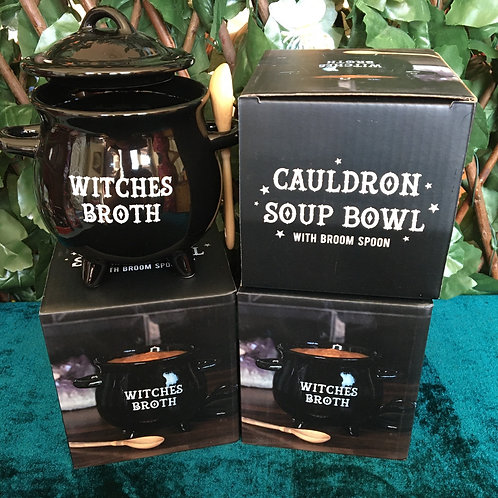 Witches Broth Cauldron Soup Bowl With Broom Spoon