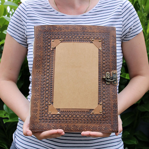 Huge Customisable Visitor Leather Book - 10in x 13in  (200 pages)