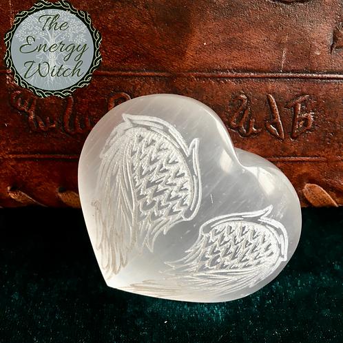 Engraved Angel Wings Heart - Selenite