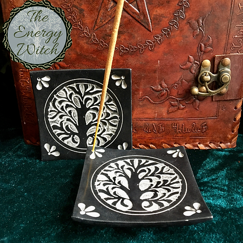 Tree - Black Soapstone Incense Holder / Altar Tile