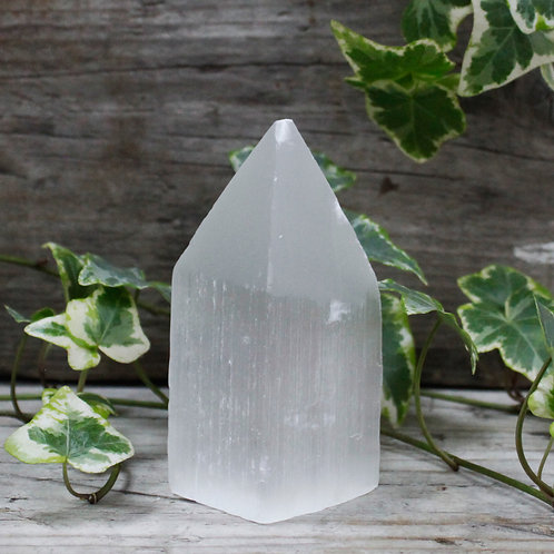 Selenite Pencil Point Tower - 10 cm