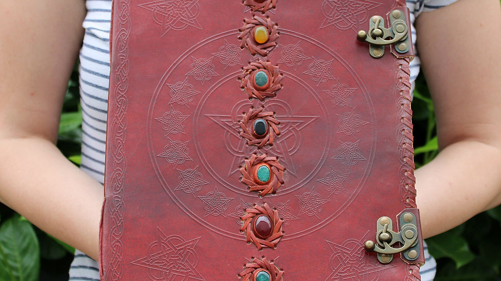 Huge 7 Chakra Leather Book - 10in x 13in  (200 pages)