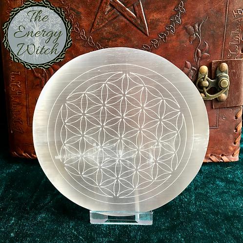 Engraved Flower of Life Mandala Charging Plate - Selenite
