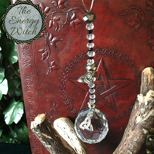 Triquetra Suncatcher - Black and Clear Crystal