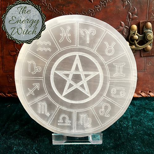 Engraved Zodiac Charging Plate - Selenite