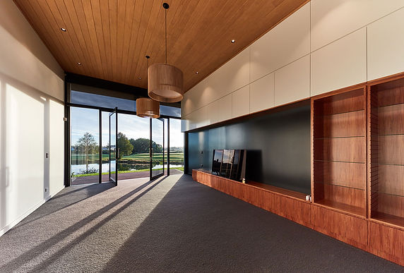 entertainment wall unit- timber-ceiling