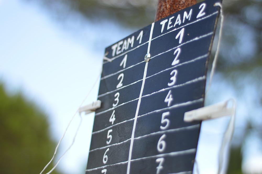 score board showing 2 teams
