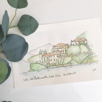 Wedding venue illustration in water colour