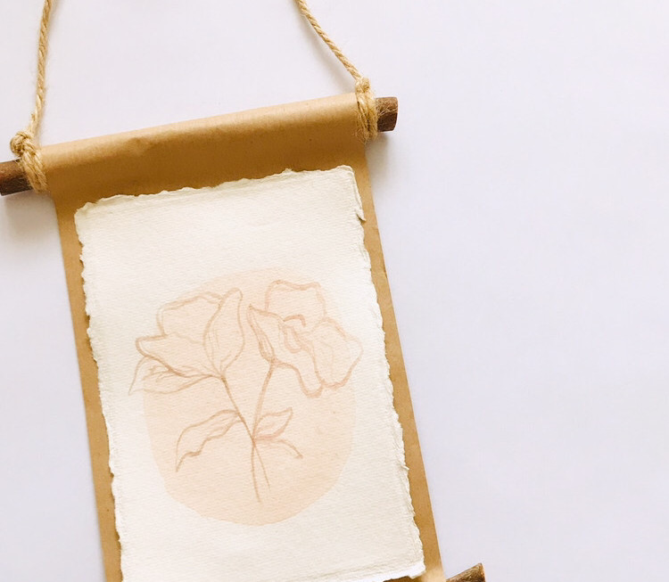 Floral watercolour wall hanging