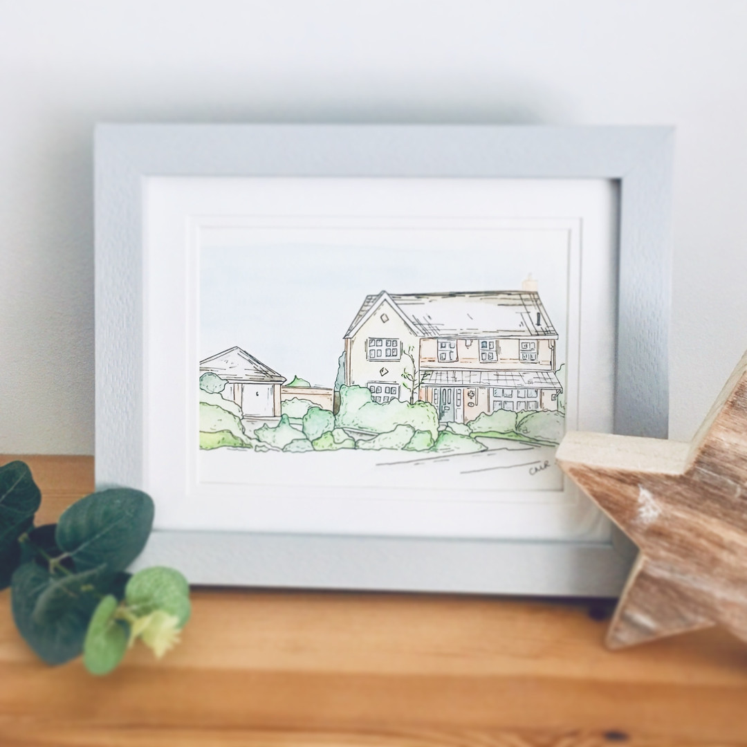 House illustration in watercolour