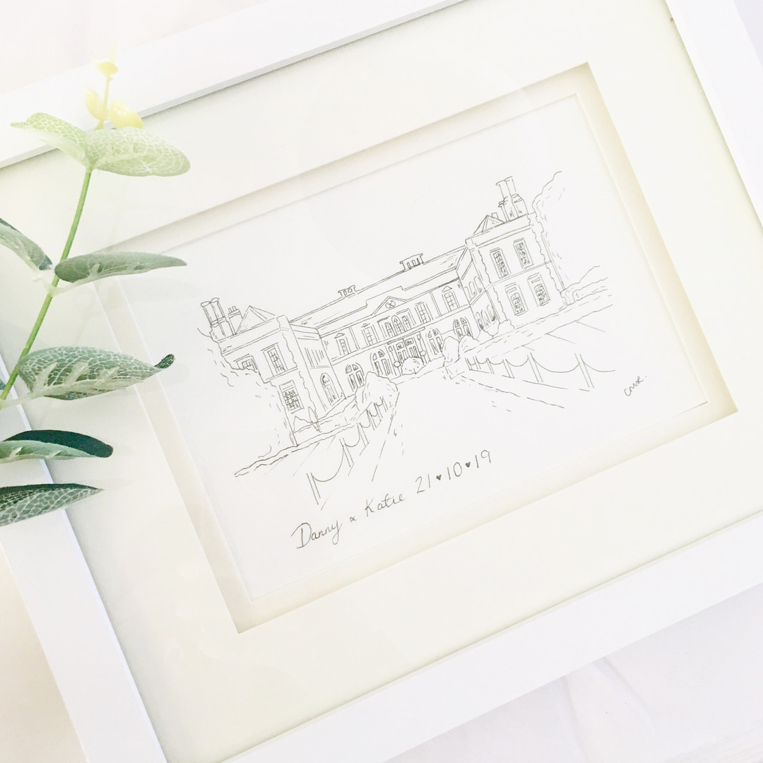 Wedding venue illustration in black and white