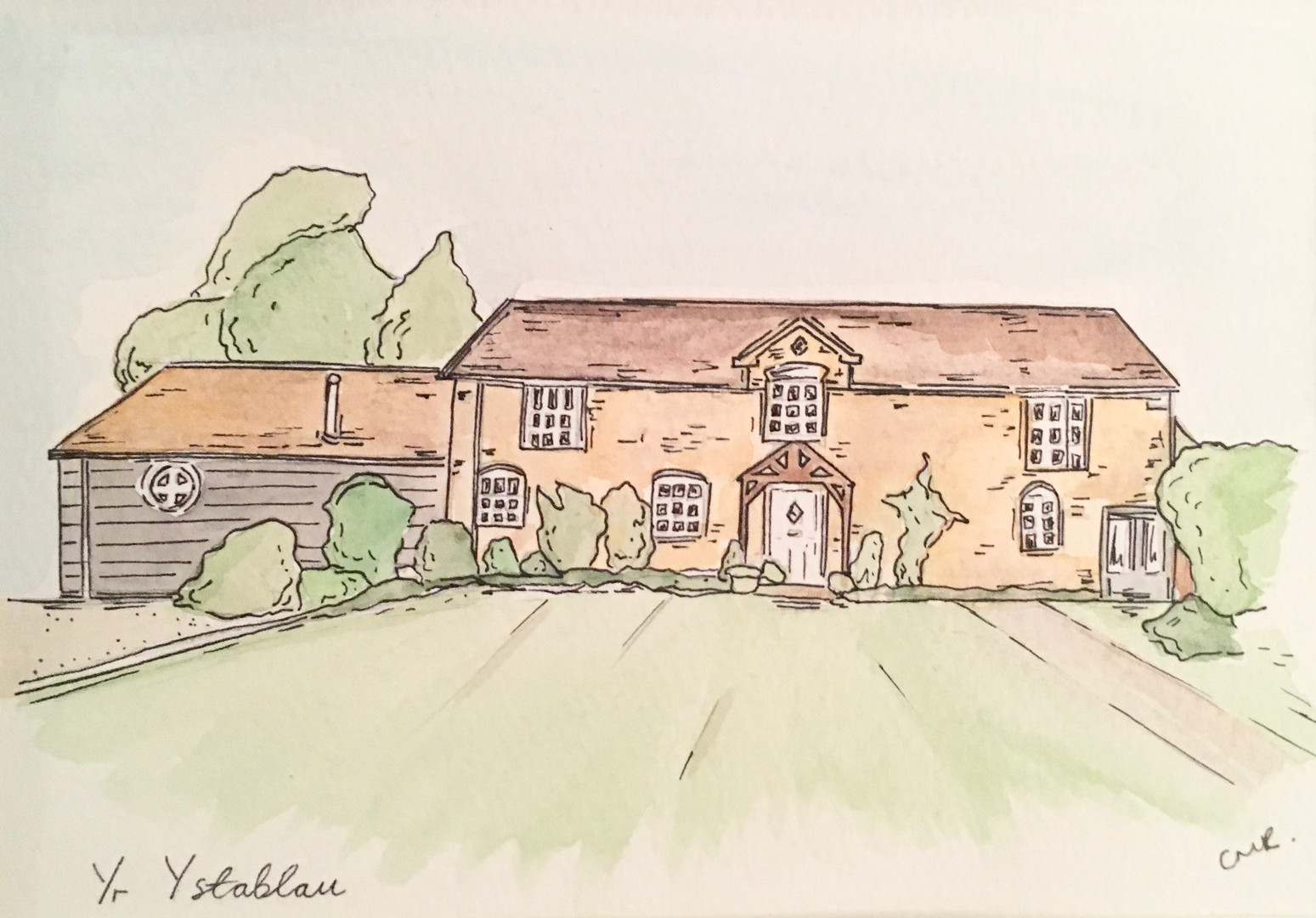 House illustration in water colour