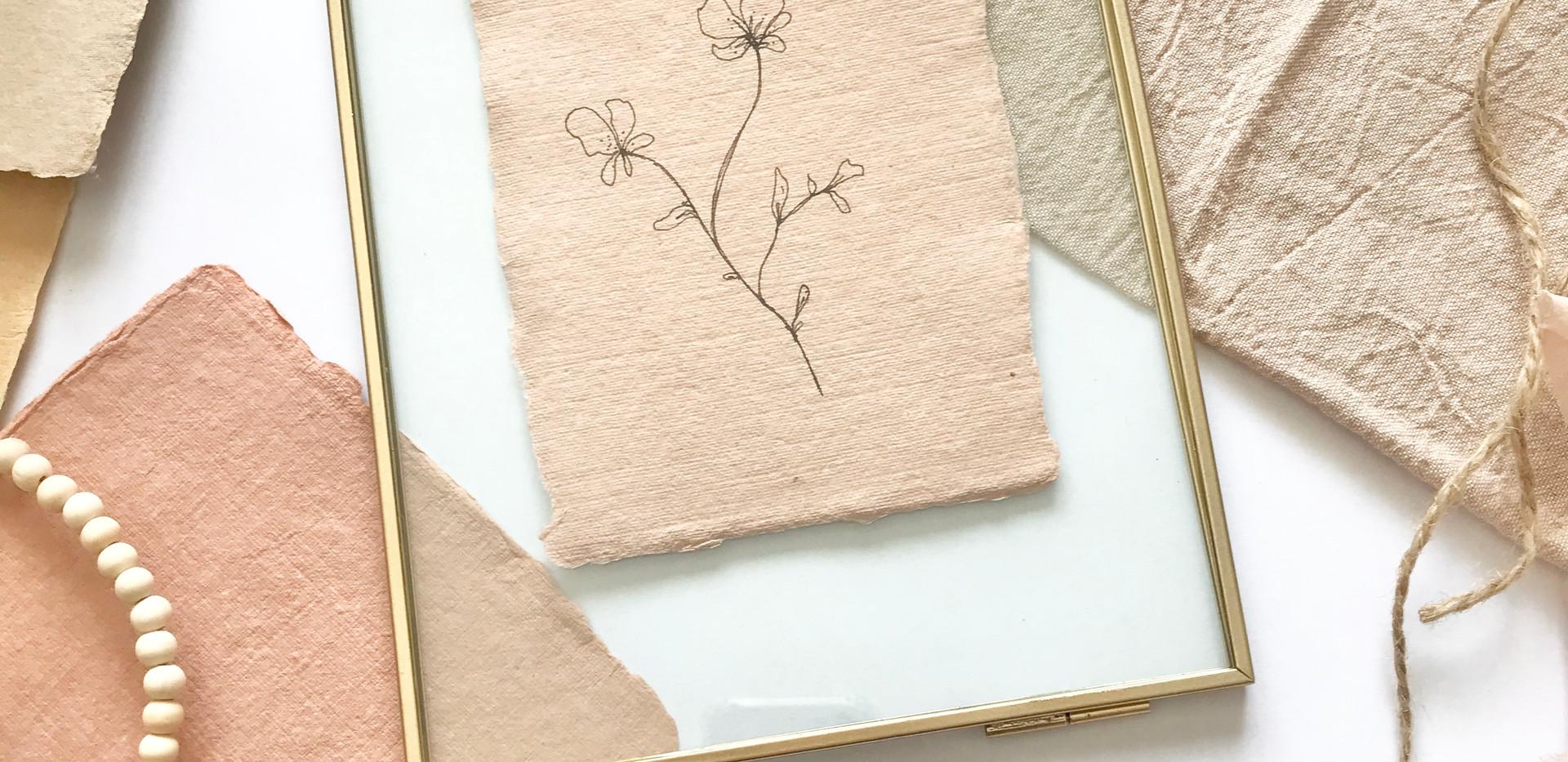 Floral illustration framed