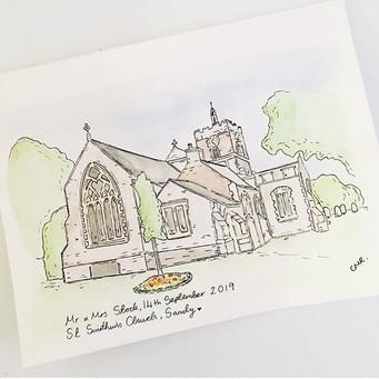 Wedding venue illustration in watercolour